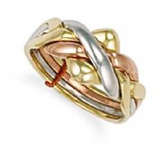 9ct Gold Four piece three colour Puzzle Ring 6.5g Hallmarked Sizes K-Z